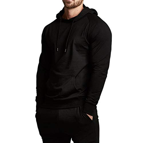 Magiftbox Men's Long Sleeve Raglan Pullover Hoodie with Pockets Gym Jogging Active Sports Sweatshirts T11_Black_US-L