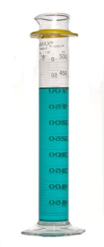 Kimble Chase KIMAX 20028W-500 Borosilicate Glass Class A Cylinder with Reverse Metric Scale, Calibrated to Deliver, 500mL Capacity (Case of 4) (Scale Reverse Kimax Metric)