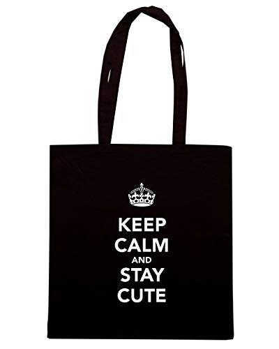 Shirt AND CALM STAY CUTE KEEP Borsa Nera Shopper Speed TKC0714 pd7cp