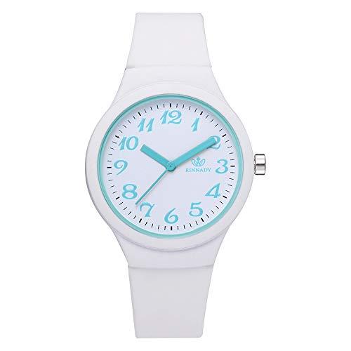 Fashion Women Silicon Strap Watches Ladies Solid Pattern Casual Wristwatch Clock,Outsta Bracelet Watch for Women Girls Gift Present (White) (Ladies Bracelet White Watch)