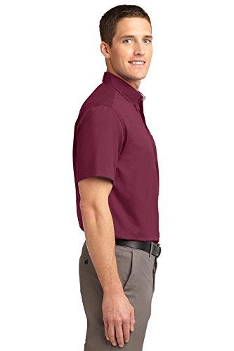 Autorità portuale da uomo a maniche corte di facile cura camicia Burgundy/Light Stone