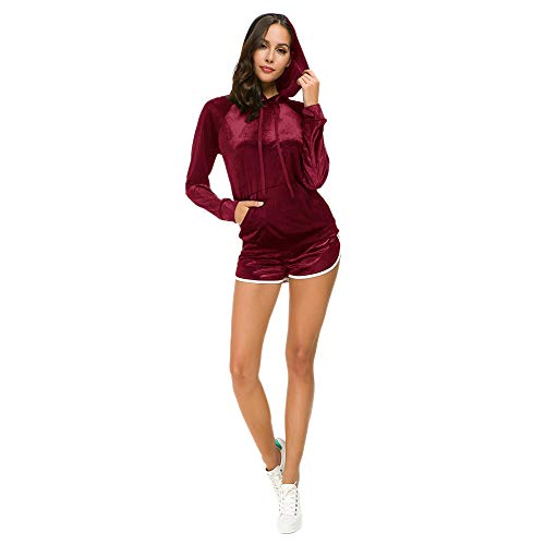 (Women's 2 Piece Solid Velour Sweatsuit Set Hoodie and Shorts Red Size L)