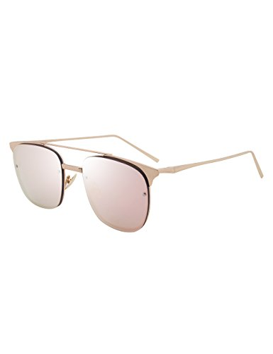 Classic Aviator Mirrored Flat Lens Sunglasses Metal Frame With Spring Hinges La407b