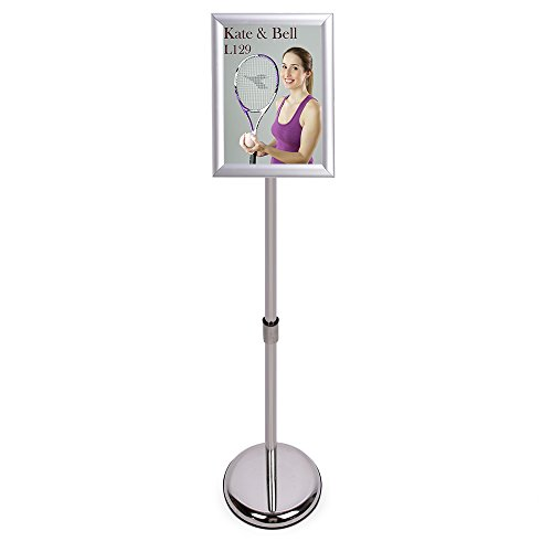 Poster Stand - Fits for 8.5 X 11 Inch Poster, Adjustable Stand Height, Poster Frame Revolvable to Either Horizontal or Vertical View Display, Metal Material Color Silver ()