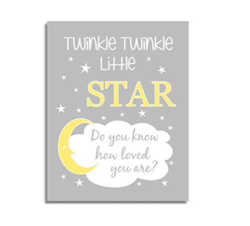 Girls Nursery Decor CANVAS Wall Art - Twinkle Little Star, Yellow, Single Print