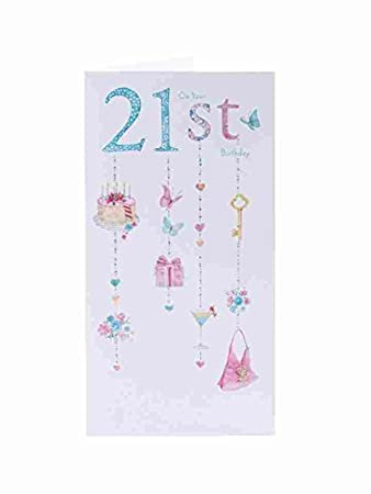 Amazon Age 21 Morden Sparkling Girly 21st Birthday New Card