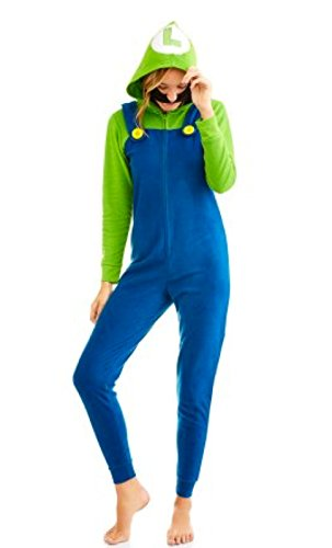 Super Mario Womens Faux Fur Licensed Sleepwear Adult Costume Union Suit Pajama (XS-3X) Luigi Large (Female Yoshi Costume)