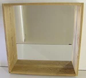 box wall shelf amp mirror unit in solid oak ideal for 13832