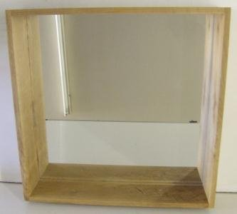 Box Wall Shelf Mirror Unit In Solid Oak