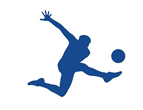 CMI ND125B Soccer Player Kicking Ball With Left Leg Decal Sticker | 5.5-Inches By 4.9-Inches | Premium Quality Blue Vinyl ()