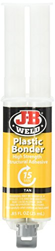 - J-B Weld 50133 Plastic Bonder Structural Adhesive Syringe - Dries Tan - 25 ml (Pack of 2)