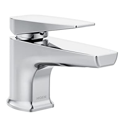 Moen S8001 Via Single Hole Bathroom Faucet with Metal Pop-up Drain Assembly,