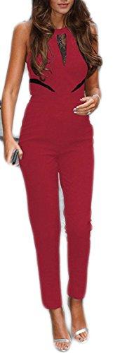 Damen Herbst Jumpsuit Playsuit Overall Bodysuit Turnanzug Hosen Clubwear