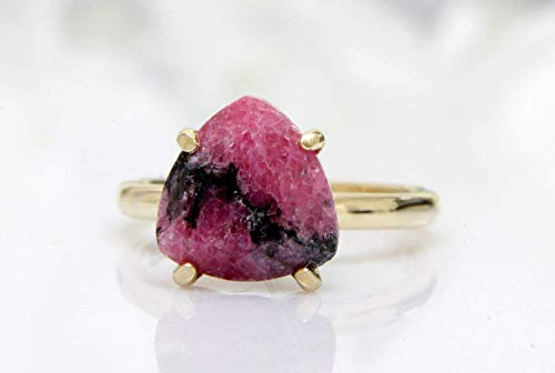 rhodonite ring,pink ring,trillion ring,gold ring,14k gold filled ring,custom solid gold ring,gemstone ring