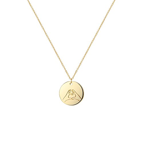 Hand Engraved Heart - Befettly Hand Gestures Choker Necklace 14 K Gold Plated Personalized Disk Pendant for Women NK-ges-Hand Heart