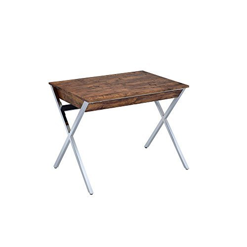 Major-Q Modern Home Office Furniture Weathered Oak & Chrome Writing Desk with Drawers (7092340) by Major-Q