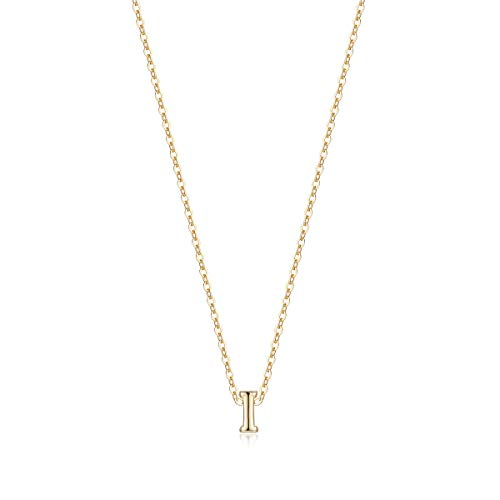- Tiny Initial Necklace, 14K Gold Plated Dainty Letter I Necklace Delicate Small Initial Necklace Personalized Monogram Name Necklace for Girls Women (I)