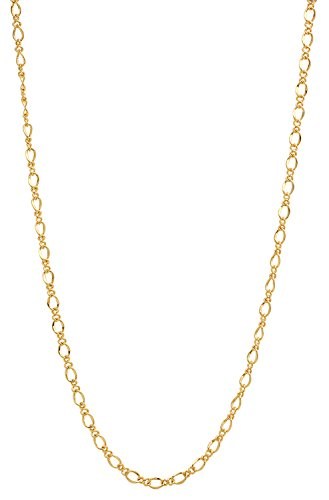 The Bling Factory 2.7mm 25 mills 24kt Gold Plated Figure Eight Link Chain Necklace, 20 inches