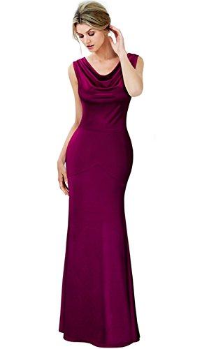[Merope J Womens Retro Vintage Sleeveless Slim Ruched Wedding Maxi Dress(2XL,Wine£] (Wine Inspired Halloween Costumes)