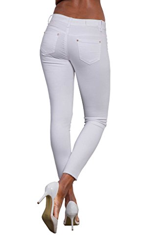 mujer para Vaqueros White LustyChic Ripped Jeans Knee qE50w1Z