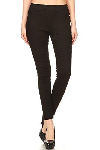 JVINI Women's High Waist Pull-On Stretch Legging Pants Denim Jean Large Black Textured Flare Pants