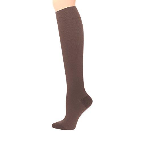 Compression Socks | Womens Brown Stockings (1 pair) | 15-20 mmHg Graduated | Sock Size 9-11 | Improve Foot Health Comfort Circulation for Nurses, Diabetes, Varicose Veins, Travel, Pregnancy by Sugar Free Sox (Image #1)