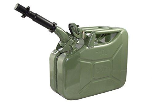 Wavian USA JC0010KVS Authentic NATO Jerry Fuel Can and Spout System Khaki (10 Litre)