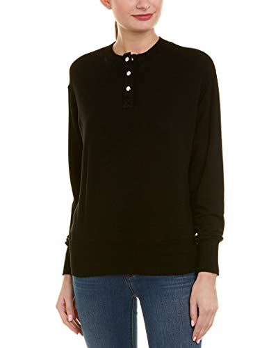 (Monrow Women's Henley Sweatshirt, Black,)