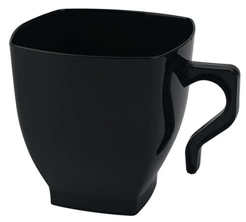 Kaya Collection - Black Fancy Hard Plastic Coffee Cups - 8oz