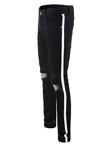pequeño Pantalones Elasticidad Ocio Color Cintura Negro Hombres Pie Media Versaces 1 Jeans Apretado Recto 8gwPq4