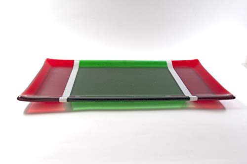 Christmas Fused Glass Platter, Seasonal Tableware, Red White Green