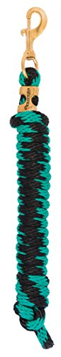 Weaver Leather Poly Lead Rope with Solid Brass 225 Snap, Striped - Green/Black
