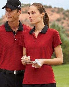 adidas Golf Ladies' ClimaLite� Classic Stripe Short-Sleeve Polo - HABISCUS/TEA ROSE - S