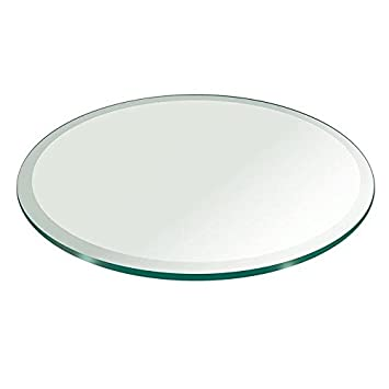 Milan RD484812BEC 48 Round Glass Top 1 2 Thick with 1 Bevel Edge