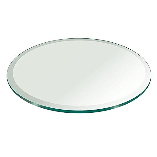 "Milan RD484810BECT 48"" Round Tempered Glass Top, 3/8"" Thick with 1"" Bevel Edge, clear"