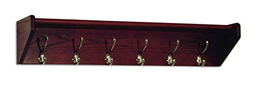 Wooden Mallet 37-Inch 6-Nickel Hook Shelf, Mahogany