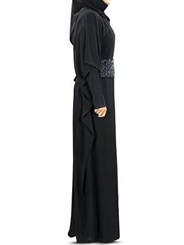 MyBatua Anum Mano Negro bordado musulmanes Kaftan KF-005