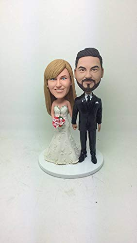 Personalized Wedding Cake Topper Custom Bobble Head Clay Figurine Based on Customers' Photos Cake Topper Wedding Gifts Wedding Decoration (2) (2 Head Custom Bobble)