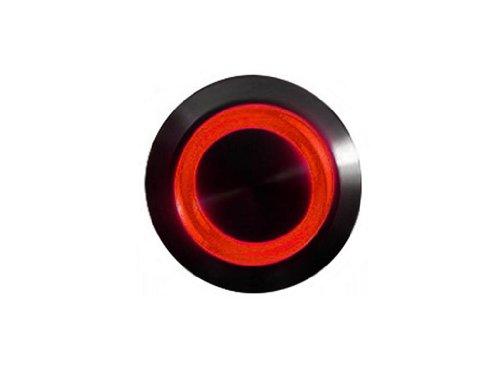mod/smart Red Illuminated Bulgin Style Momentary Vandal Switch - 22mm -Black Housing - Ring Illumination