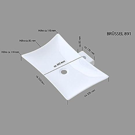 inkl in wei/ß BTH: 59x37x12cm Aufsatzwaschbecken Br/üssel159 aus Keramik Nano-Versiegelung//Abperl- // Lotus-Effekt