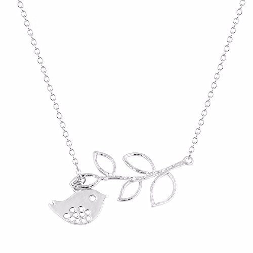 (Jewelryamintra Silver Plated Branch Cross Chain Leaves Peace Bird Pendant Adjustable Necklace)
