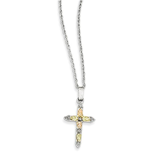 Sterling Silver & 12K Cross Necklace QBH158 18""