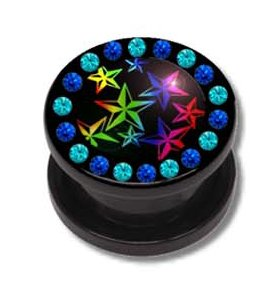 Piercing tunnel pour lobe d'oreille en acrylique à vis avec des étoiles et cristaux - 10 mm