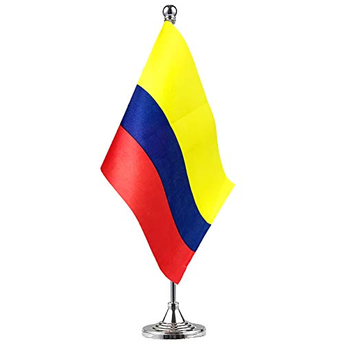 (Colombia Colombian Stand Base Flag Table Desk Flag ,Metal Stand and Base and Country Flag Banners,For Home Garden Office Decoration, Festival Celebrations.)