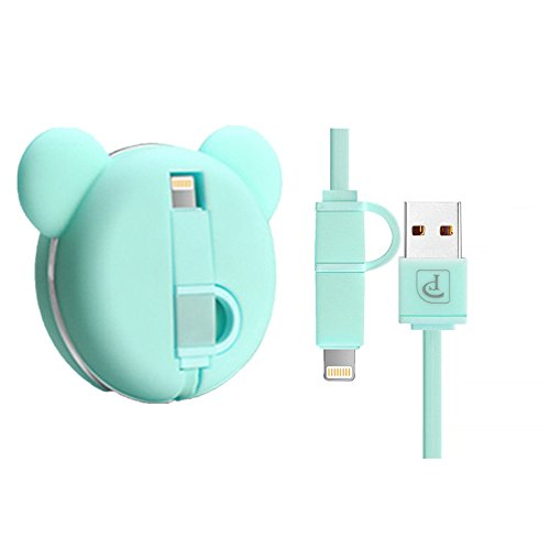 iPhone Charger, Oatsbasf Retractable Cute Bear Lightning Cable Micro Usb Cable 2 in 1 Sync and Charge Portable Flexible High Speed Charging Cable for iPhones iPad iPod Android Phones, 3.3ft (Green)