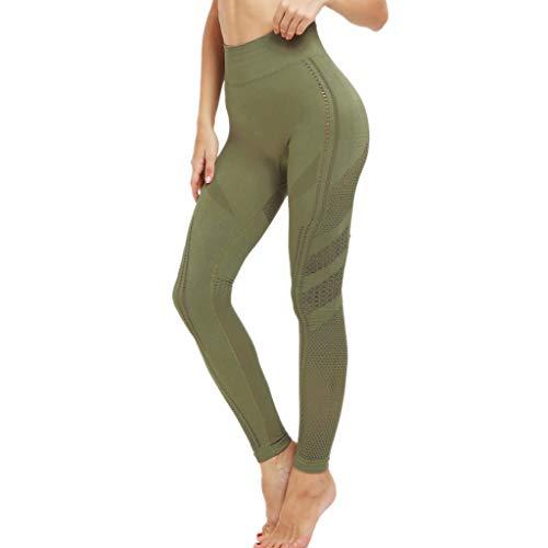 - kemilove Women's Porous High-Waist Hip Tight-Body Elastic Sports Skinny Workout Running Fitness Leggings Training Pants Green