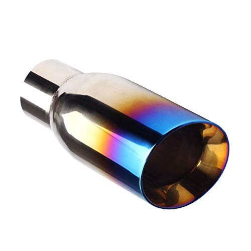 Single Blue Burnt Exhaust Slant Cut Polished Non-magnetic Stainless Steel Tip 2.5