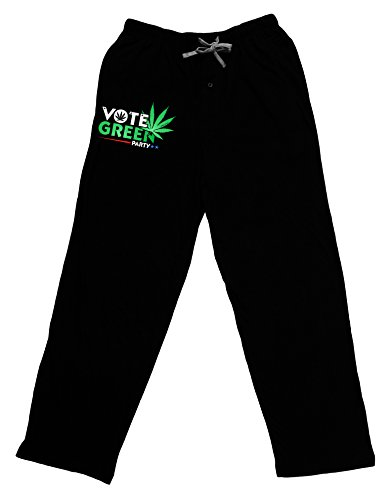 TooLoud Vote Green Party - Marijuana Adult Lounge Pants - Black- Large (Weed Pajama Pants)