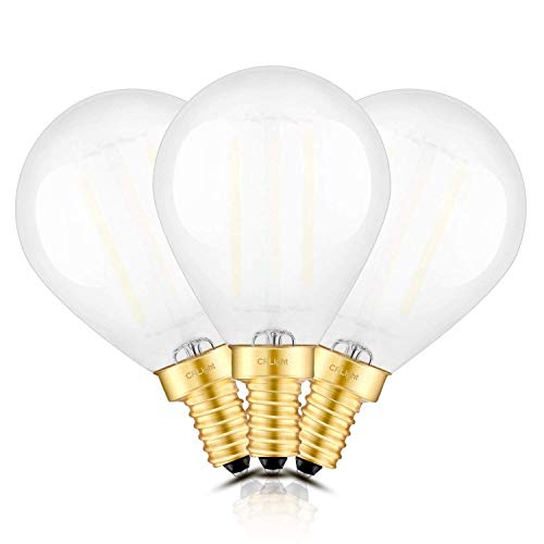 CRLight 2W 250LM 4000K LED Candelabra Globe Bulb Daylight (Neutral White),25W Incandescent Equivalent,Replace 8W Compact Fluorescent CFL Bulbs,E12 Dimmable LED Filament Bulbs,G45 Frosted Glass,3 Pack ()