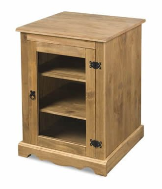 Hi-Fi Stereo Cabinet Solid Mexican Pine Glass Front Cupboard ...